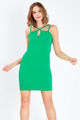 GREEN CROSS FRONT BODYCON DRESS