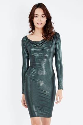 GREEN SLINKY GLITTER BODYCON DRESS