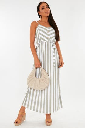 GREEN Stripe maxi dress with button and tie