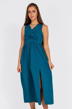 GREEN Wrap Waist Split Thigh Maxi Dress