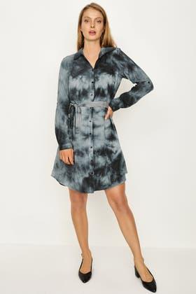 GREY ACID WASH SHIRT DRESS
