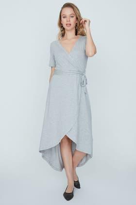 GREY BELT DETAIL DIPHEM MAXI DRESS