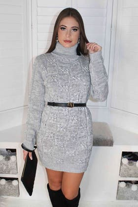 GREY CABLE ROLLNECK TUNIC