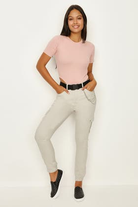 GREY CHAIN CARGO TROUSER WITH BELT