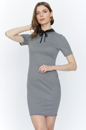 GREY COLLAR TIE DETAIL BODYCON DRESS