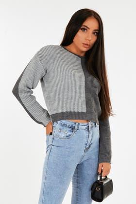 GREY Colour Block Crop jumper