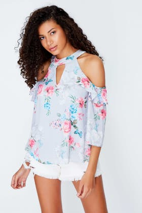 GREY FLORAL BUTTERFLY KEYHOLE TOP