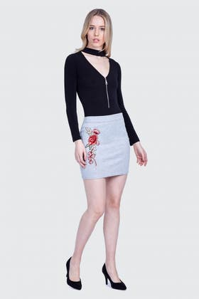 GREY FLORAL EMBROIDERED MINI SKIRT