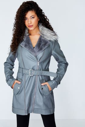 GREY FUR LINED PU TRENCH