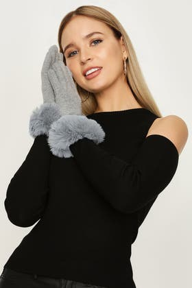 GREY JERSEY WITH FUR GLOVES
