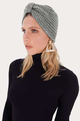 GREY KNITTED BOW HEAD BAND