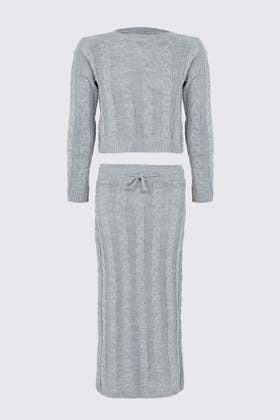 GREY Knitted Longline Skirt And Top
