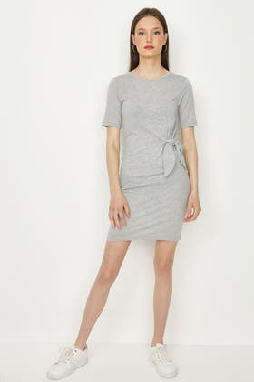 GREY KNOT FRONT BODYCON DRESS