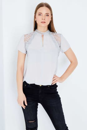 SILVER GREY LACE INSERT KEYHOLE WOVEN TOP
