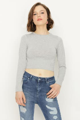 GREY MARL BASIC FITTED CROP LONG SLEEVE