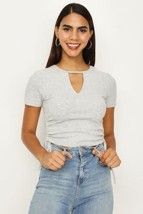 GREY MARL KEYHOLE RUCHED FRONT TEE