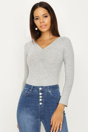 GREY MARL RUCHED FRONT LONG SLEEVE BODY