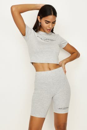 GREY MARL COUTURE FITTED CROP TEE & CYCLING SHORT SET