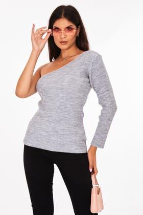 GREY One Shoulder Knitted Jumper