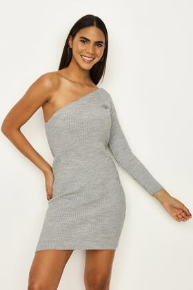 GREY One Shoulder Knitted Tunic Dress