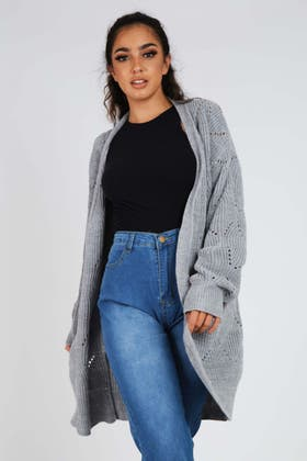 GREY Open Pointelle Front Cardigan