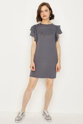 GREY PARIS  SLOGAN DIAMANTE T-SHIRT DRESS