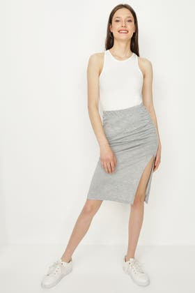 GREY RUCHED SIDE JERSEY MIDI SKIRT
