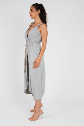 GREY Strappy Midi Dress With Tie Detail