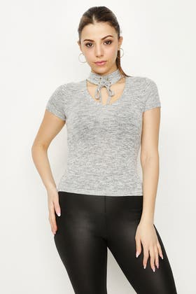 GREY TIE UP CHOKER CUT AND SEW TOP