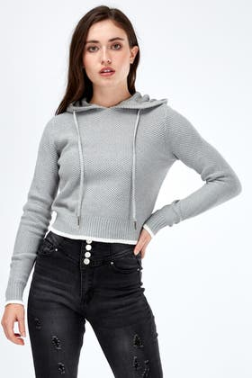 GREY TIPPED KNIT HOODY