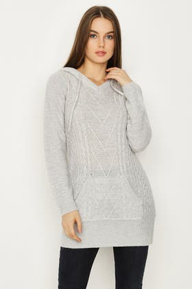GREY TWIST CABLE DETAIL HOODED TUNIC