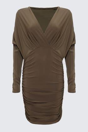 GREY V-Neck Plunge Dress