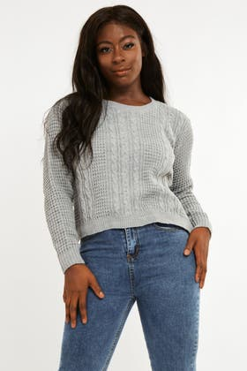 GREY Waffle Cable Stich Jumper
