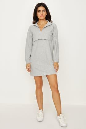 GREY ZIP NECK POCKET FRONT SWEAT DRESS