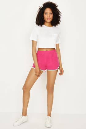 HIBISCUS-WHITE SIDE PANEL SHORTS