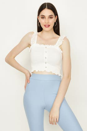 IVORY BRODERIE SHIRRED CROP TOP