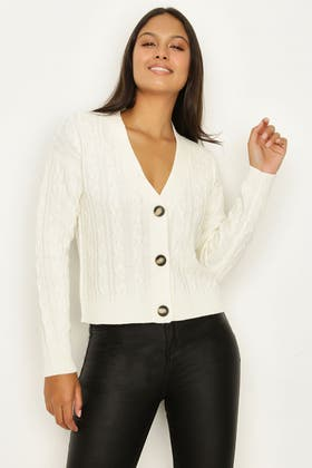 IVORY CABLE BUTTON CARDIGAN