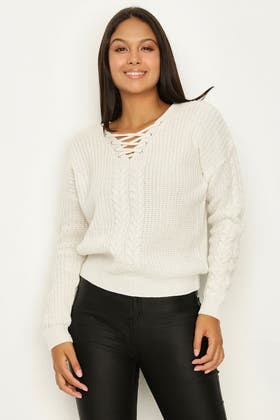 IVORY CABLE LACE UP JUMPER