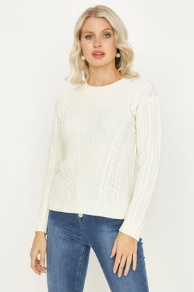 IVORY CABLE & RIB JUMPER WITH LACE UP FRONT