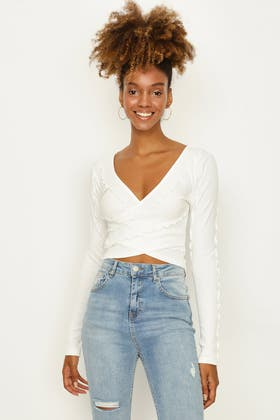 IVORY EXPOSED SEAM WRAP OVER L/S TOP