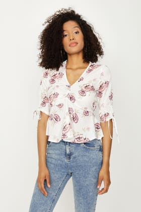 IVORY FLORAL ROUCHED FRONT TOP