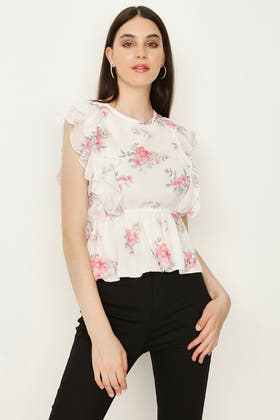 IVORY FLORAL SLEEVESS FRILL CHIFFON BLOUSE