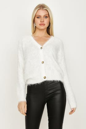 IVORY FLUFFY CROP CARDI WITH BUTTON