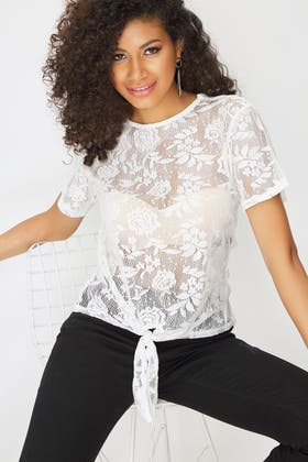 IVORY LACE TIE FRONT