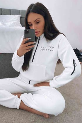 IVORY LIMITED EDITION ZIP NECK SWEAT