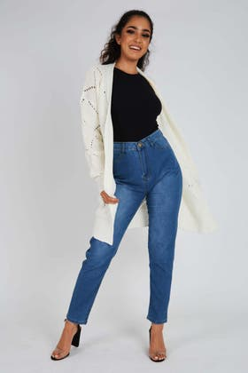 IVORY Open Pointelle Front Cardigan
