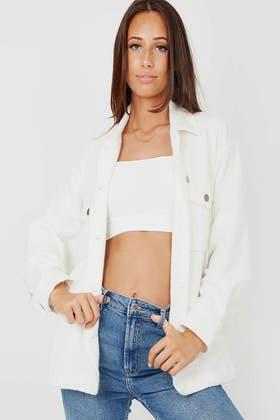IVORY Plain Classic Thick Shirt Jacket Shacket