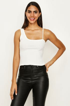 IVORY RECYCLED RIB ONE SHOULDER TOP