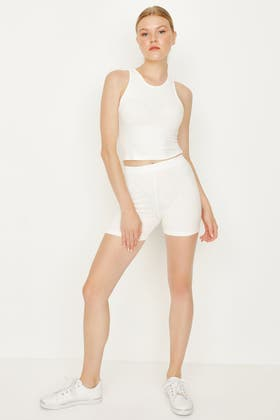 IVORY RIBBED BABY CYCLING SHORT & RACER CROP SET