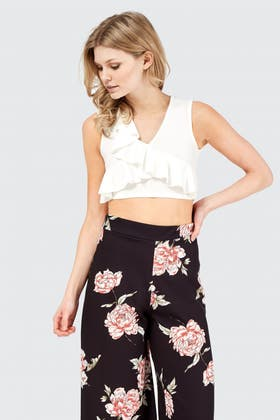 IVORY RUFFLE FRONT CROP TOP